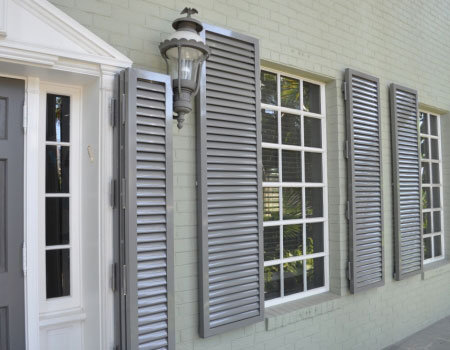 Colonial shutters shutter tech for Exterior window weather protection